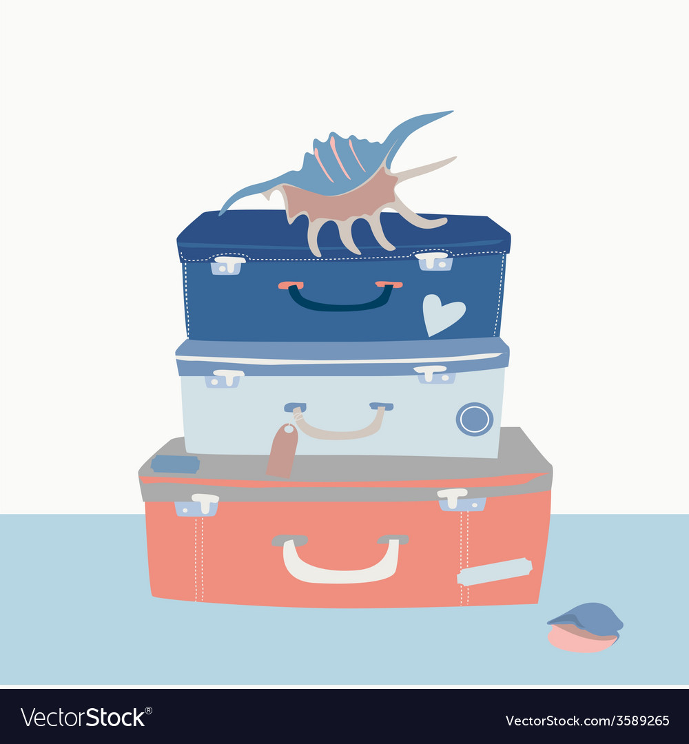 Voyage suitcases and cockleshells vector | Price: 1 Credit (USD $1)