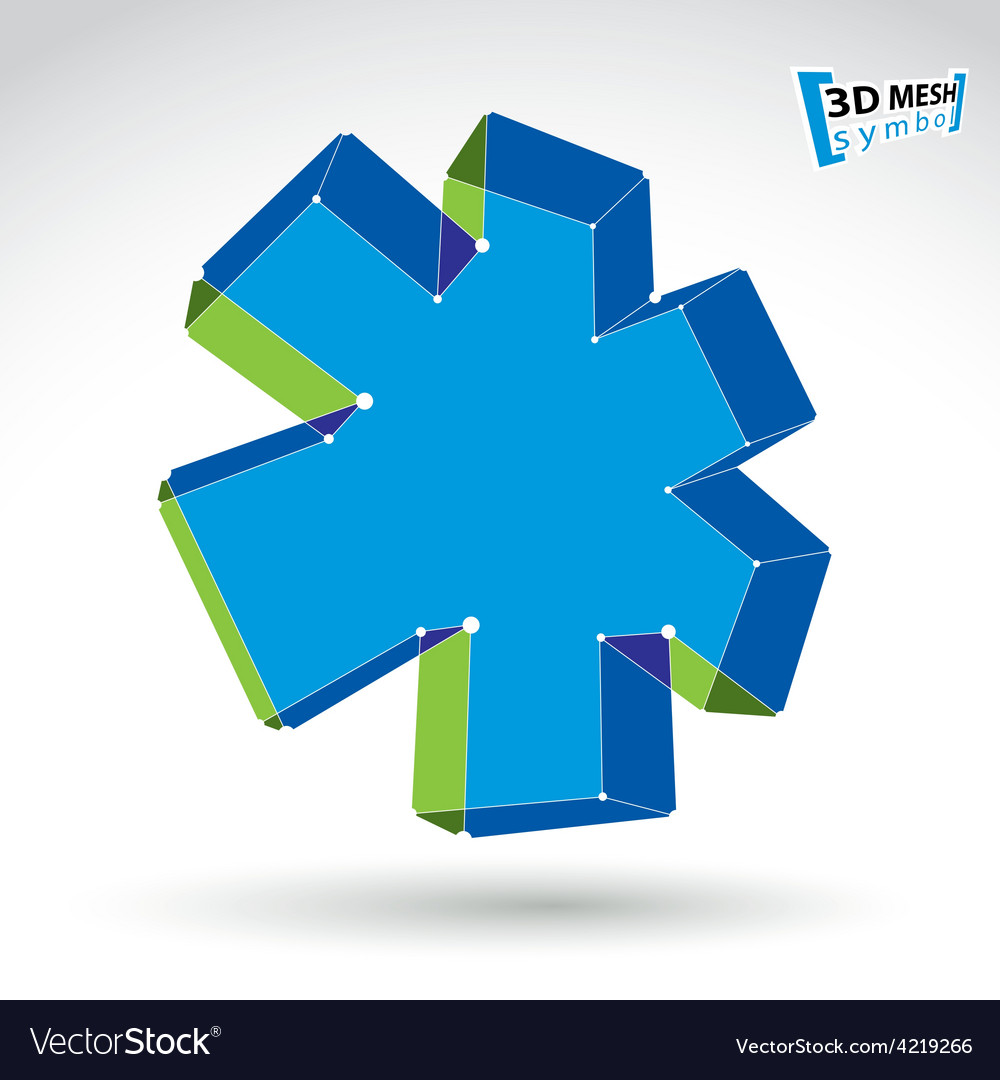 3d mesh web green and blue ambulance icon isolated vector | Price: 1 Credit (USD $1)
