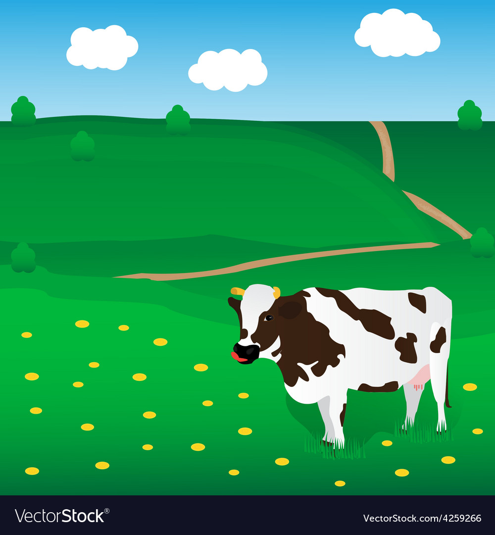 Cow grazes on the meadow vector | Price: 1 Credit (USD $1)
