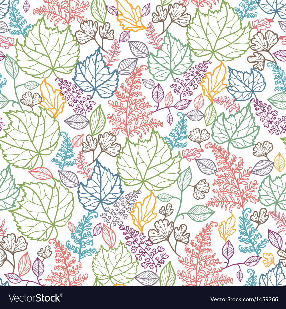 Line art leaves seamless pattern background vector   Price: 1 Credit (USD $1)