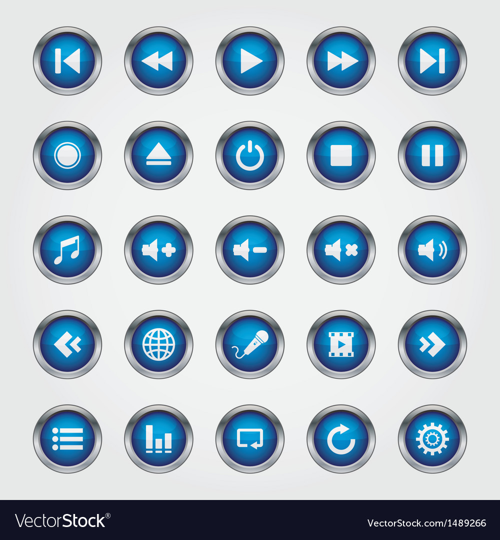Media button blue vector | Price: 1 Credit (USD $1)