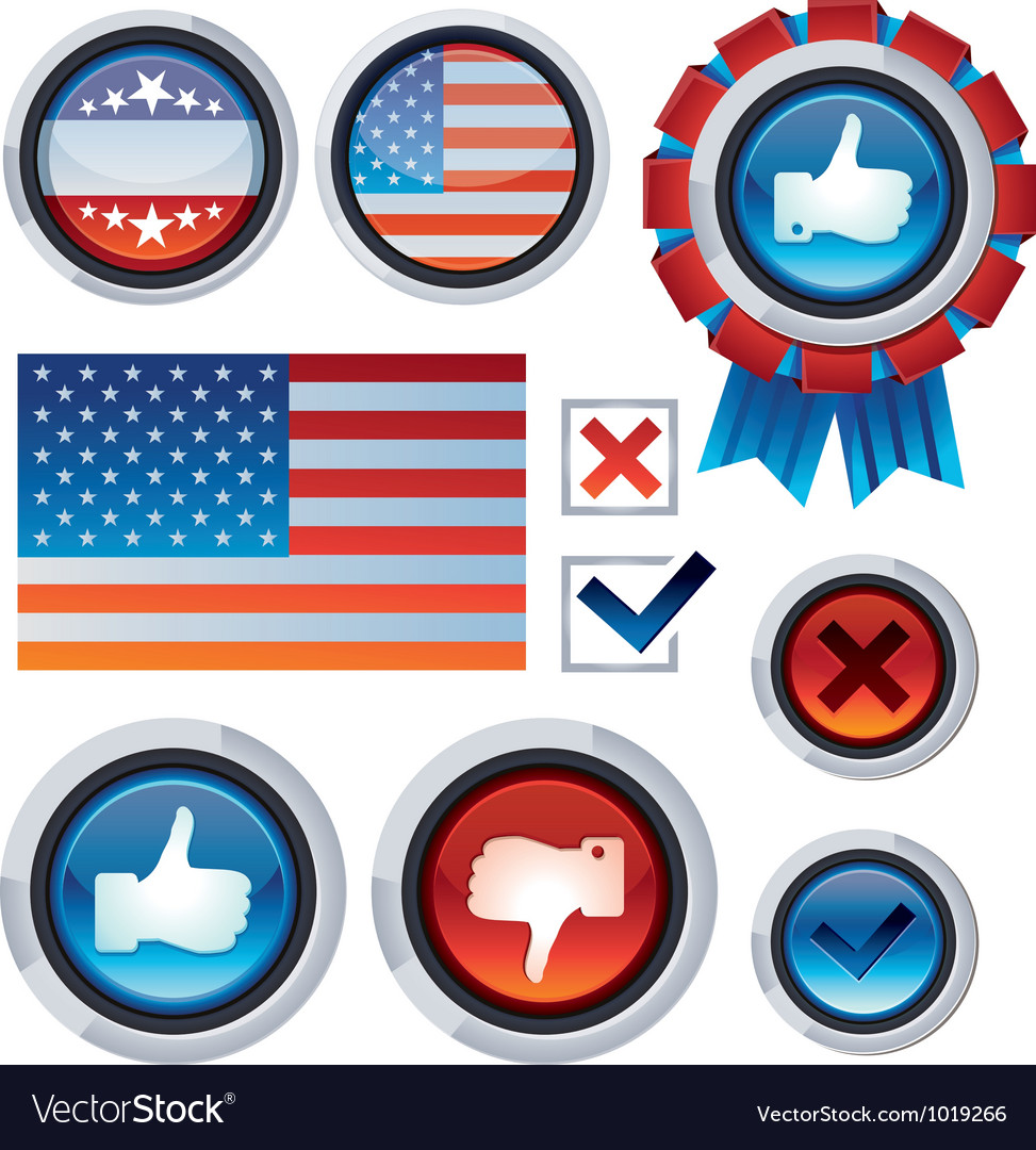 Set with voting and election design elements vector | Price: 1 Credit (USD $1)