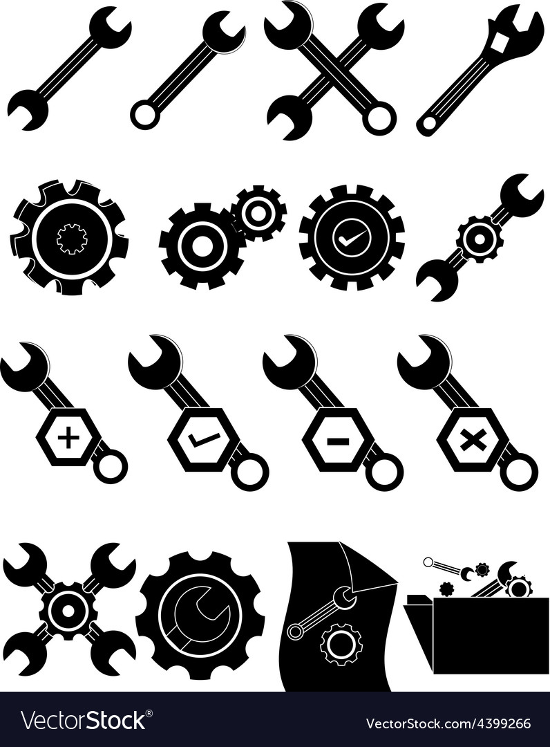 Settings gear icons set vector | Price: 3 Credit (USD $3)