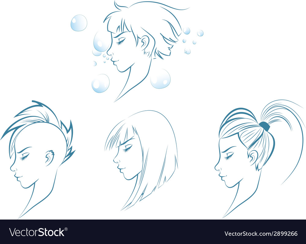 Side view of stylized woman vector | Price: 1 Credit (USD $1)