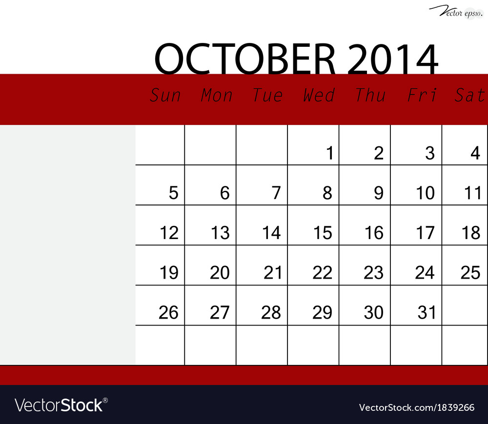 Simple 2014 calendar october vector | Price: 1 Credit (USD $1)
