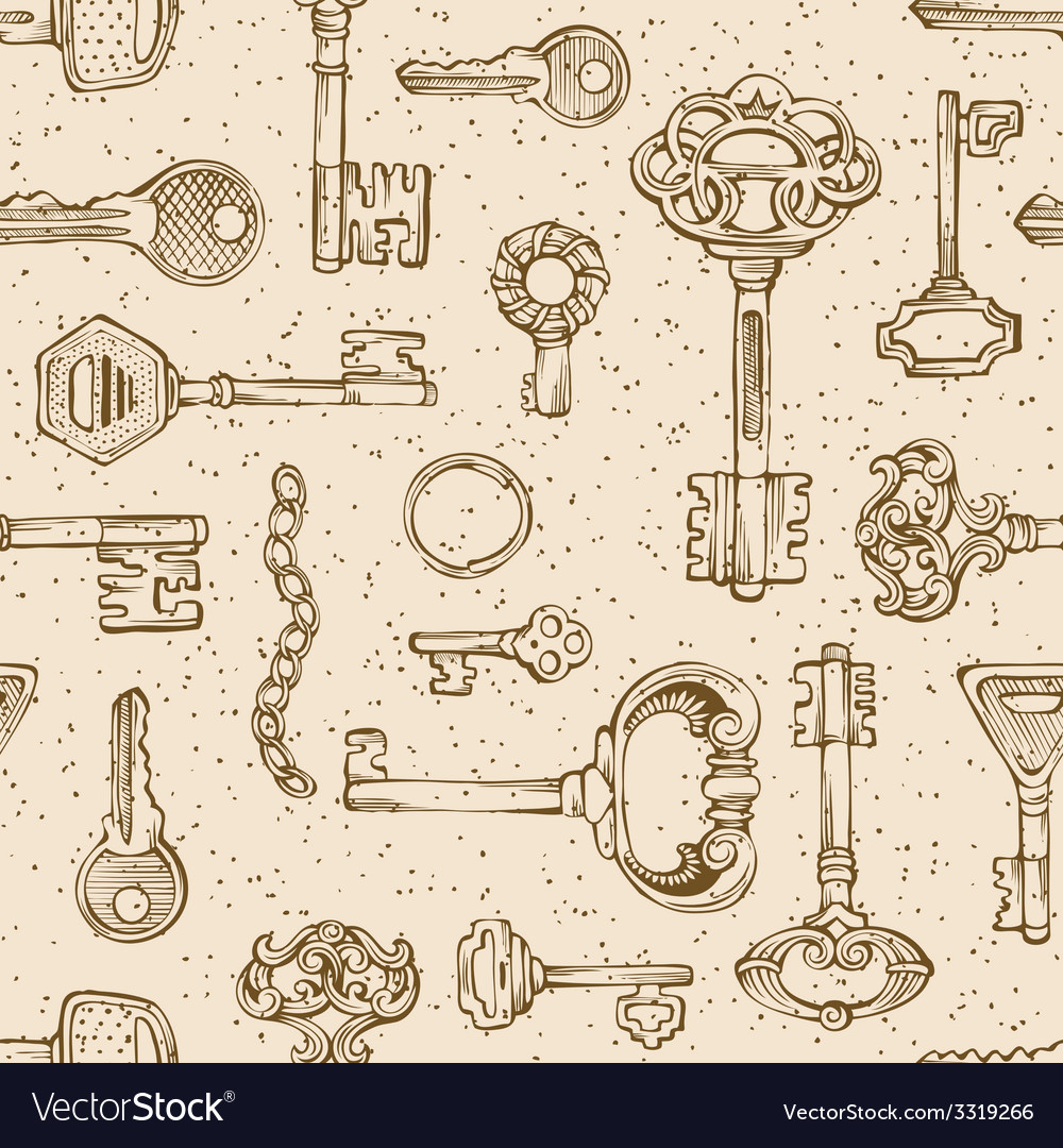 Vintage keys pattern vector | Price: 1 Credit (USD $1)