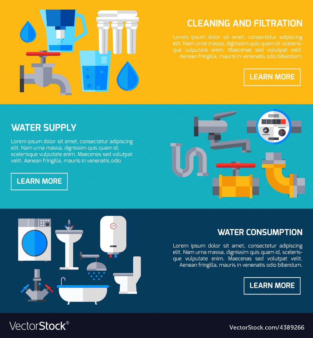 Water supply banners vector | Price: 1 Credit (USD $1)