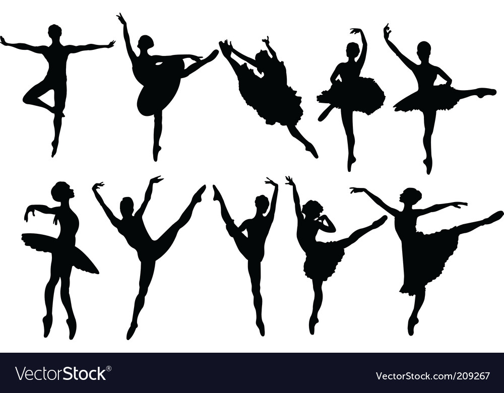 Ballerina silhouettes vector | Price: 1 Credit (USD $1)