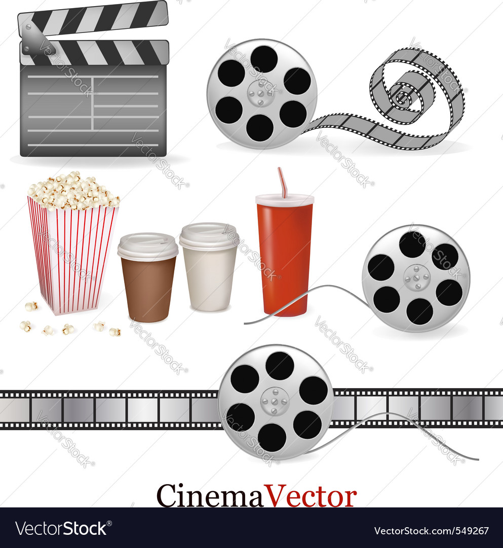 Big set of cinema objects vector | Price: 3 Credit (USD $3)