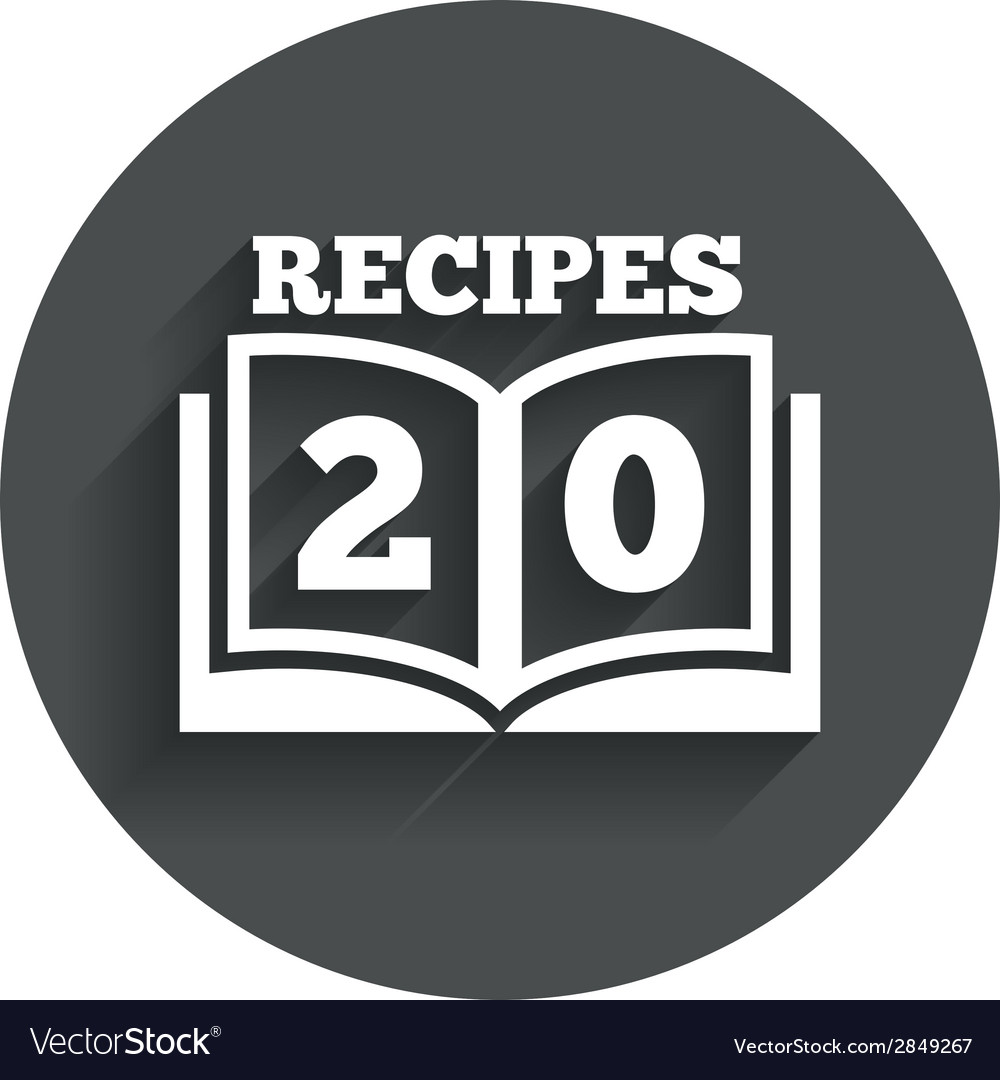 Cookbook sign icon 20 recipes book symbol vector | Price: 1 Credit (USD $1)