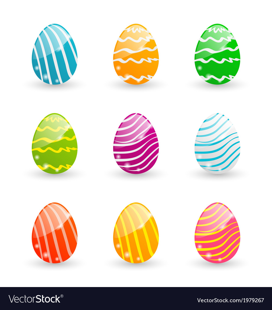 Easter set colorful ornamental eggs isolated on vector | Price: 1 Credit (USD $1)