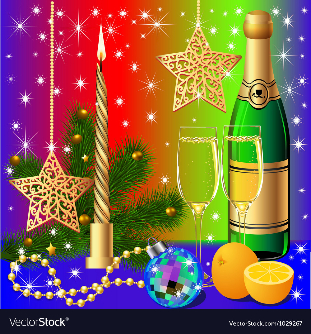 Festive background with candle by ball by orange vector | Price: 1 Credit (USD $1)