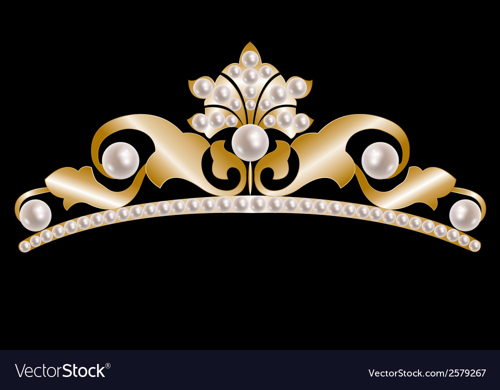 Gold tiara with pearls vector | Price: 1 Credit (USD $1)