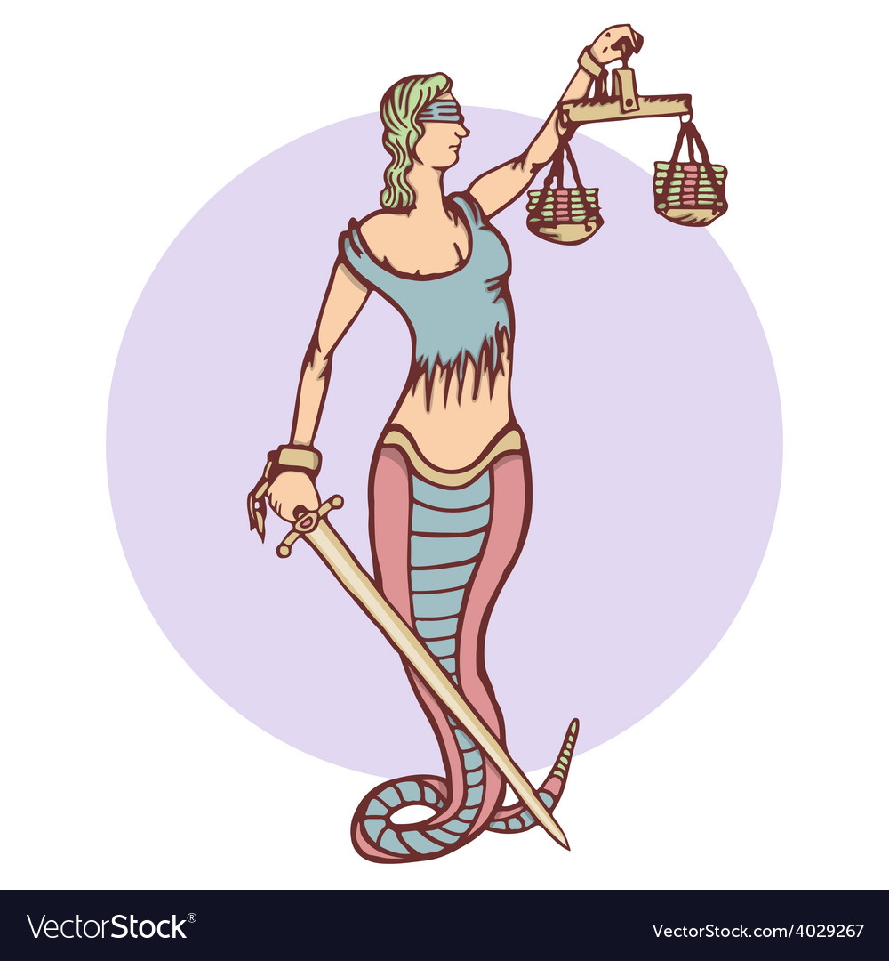 Isolated cartoon evil snake lady justice vector | Price: 1 Credit (USD $1)