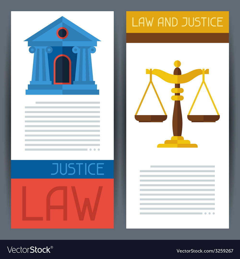 Law and justice horizontal banners in flat design vector | Price: 1 Credit (USD $1)