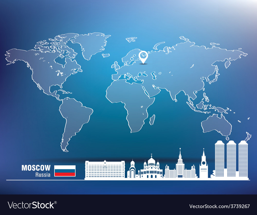 Map pin with moscow skyline vector | Price: 1 Credit (USD $1)