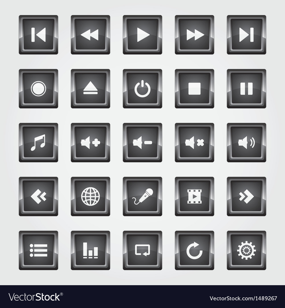 Media square button black vector | Price: 1 Credit (USD $1)