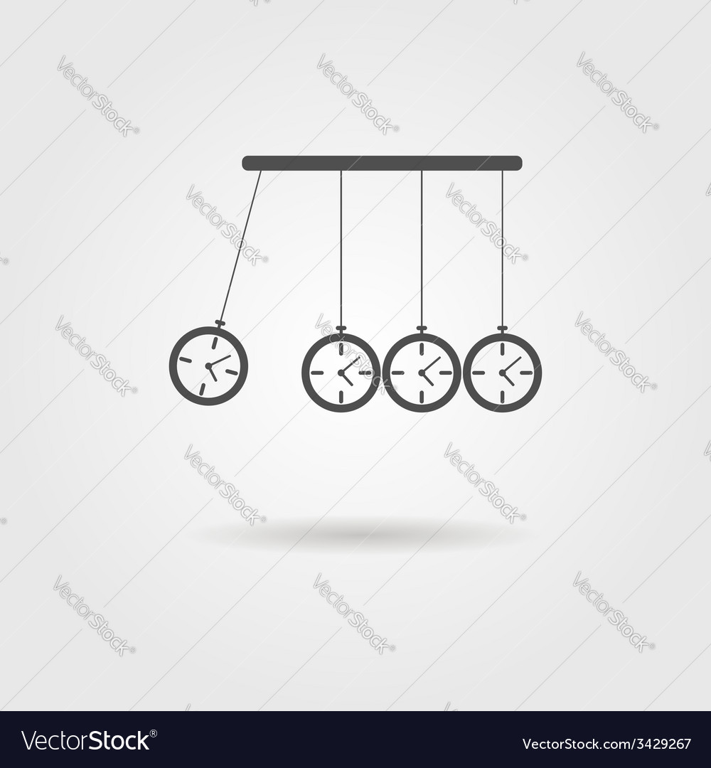 Newtons cradle icon concept of procrastination vector | Price: 1 Credit (USD $1)