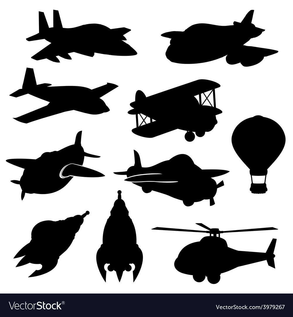 Set of isolated plane icons vector | Price: 1 Credit (USD $1)