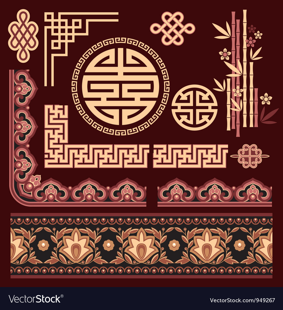 Set of oriental pattern elements vector | Price: 1 Credit (USD $1)