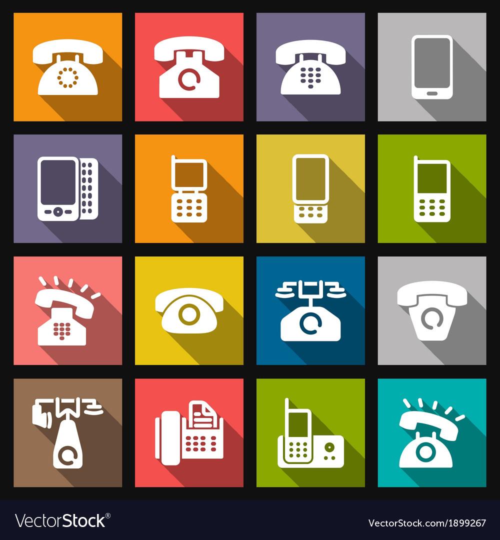 Set phone icon vector | Price: 1 Credit (USD $1)