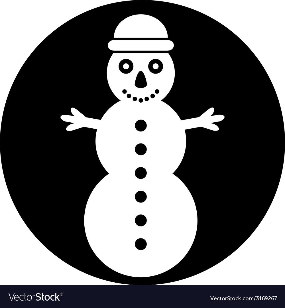 Snowman symbol button vector | Price: 1 Credit (USD $1)