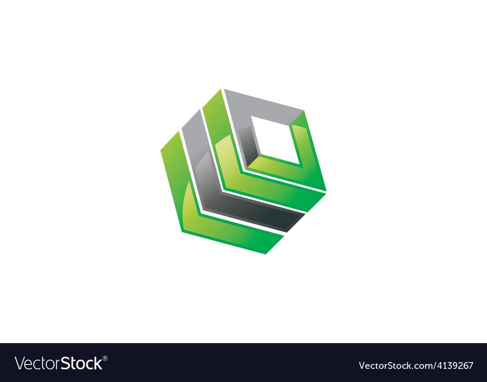 Square 3d building box logo vector | Price: 1 Credit (USD $1)