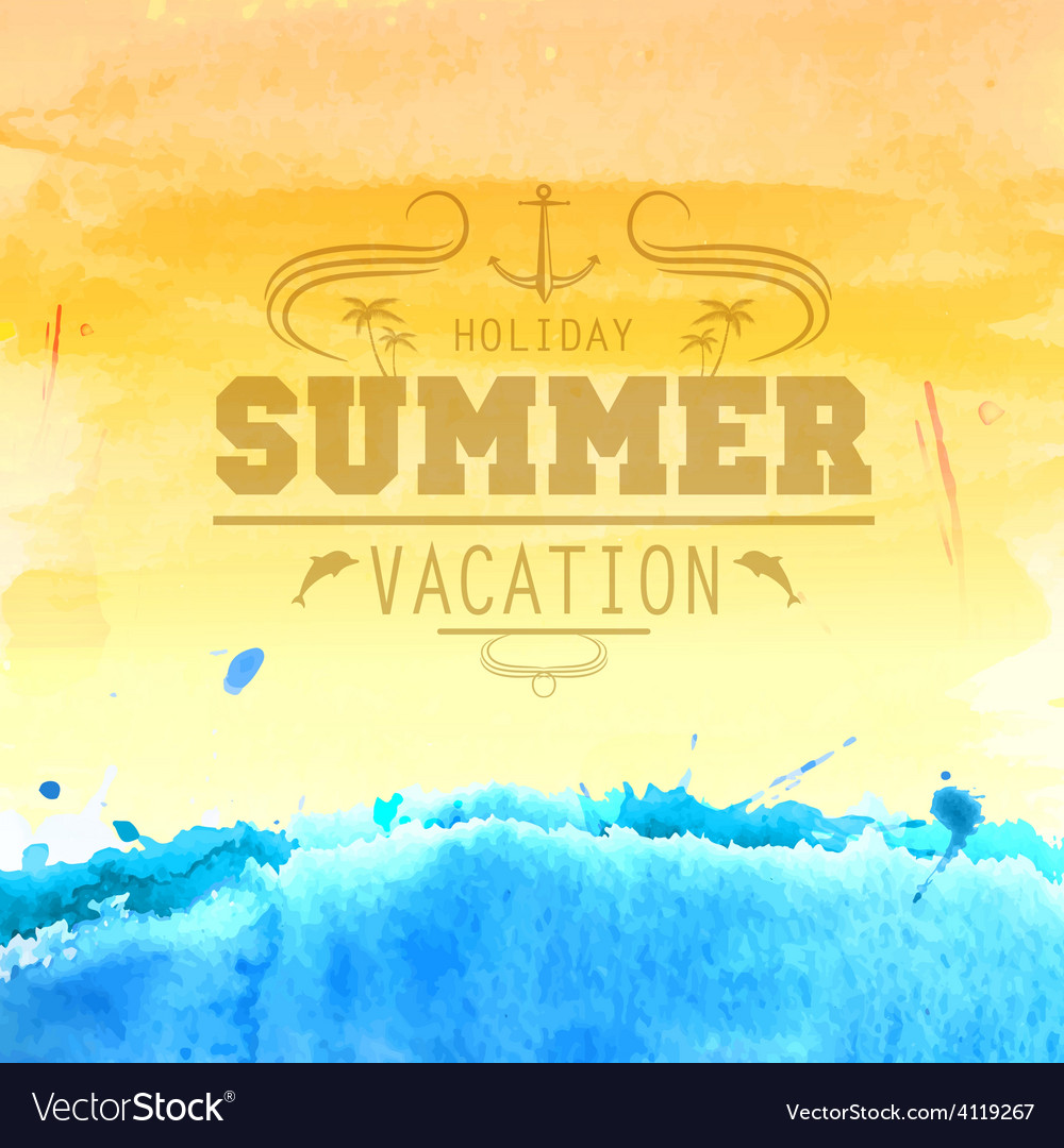 Summer watercolor background vector | Price: 1 Credit (USD $1)