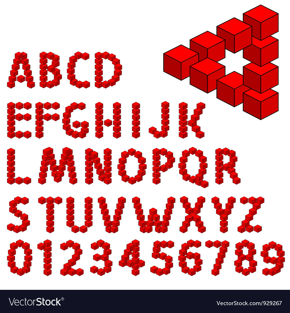 Three dimension alphabet set vector | Price: 1 Credit (USD $1)