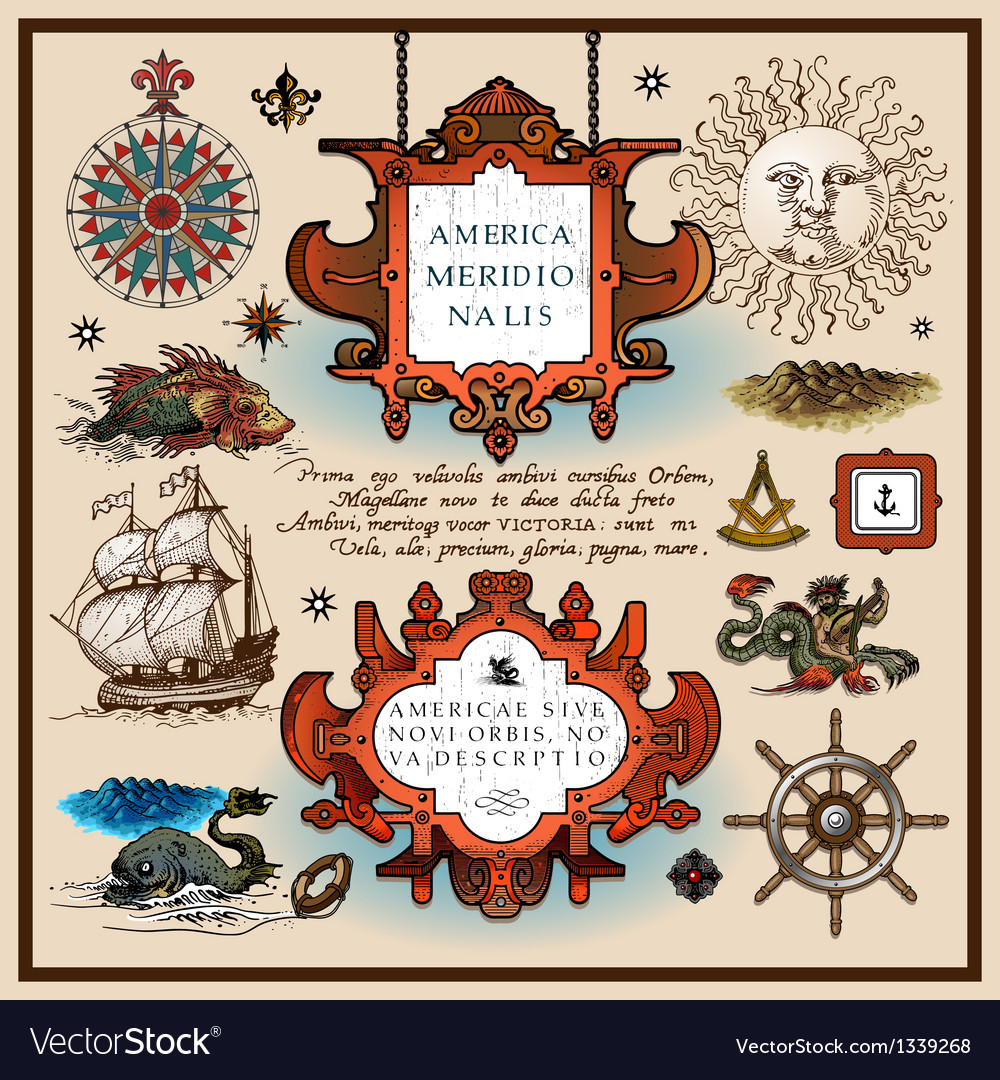 Antique map elements vector | Price: 3 Credit (USD $3)