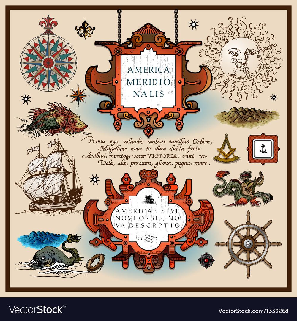 Antique map elements vector | Price: 3 Credit (USD $3)