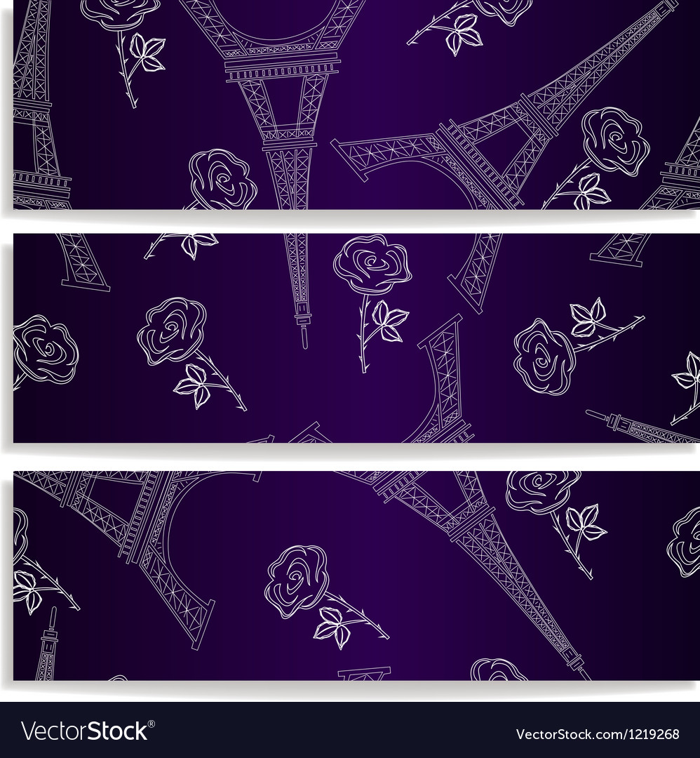 Banners with eiffel tower vector | Price: 1 Credit (USD $1)