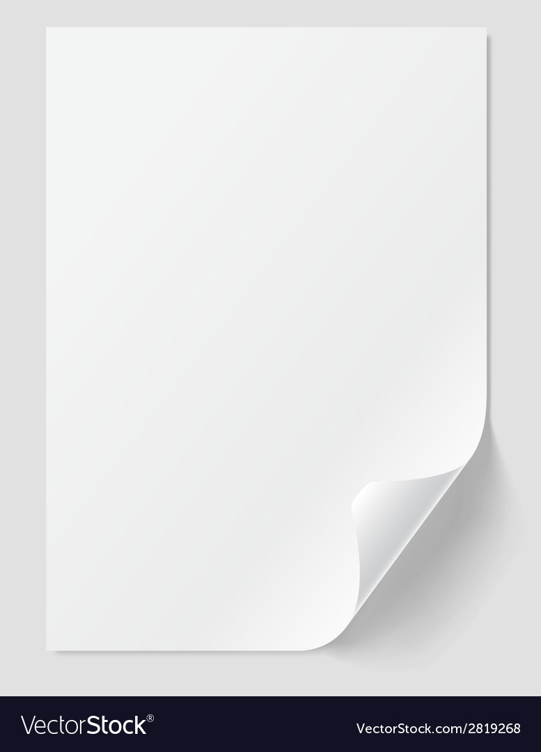 Blank sheet with curled corner vector | Price: 1 Credit (USD $1)