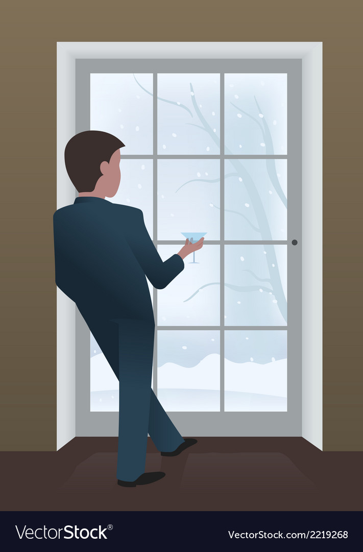 Businessman looking out the window vector | Price: 1 Credit (USD $1)