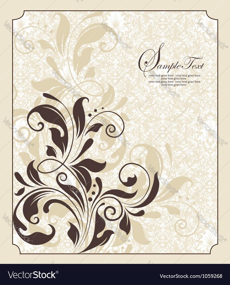 Damask floral invitation vector | Price: 1 Credit (USD $1)