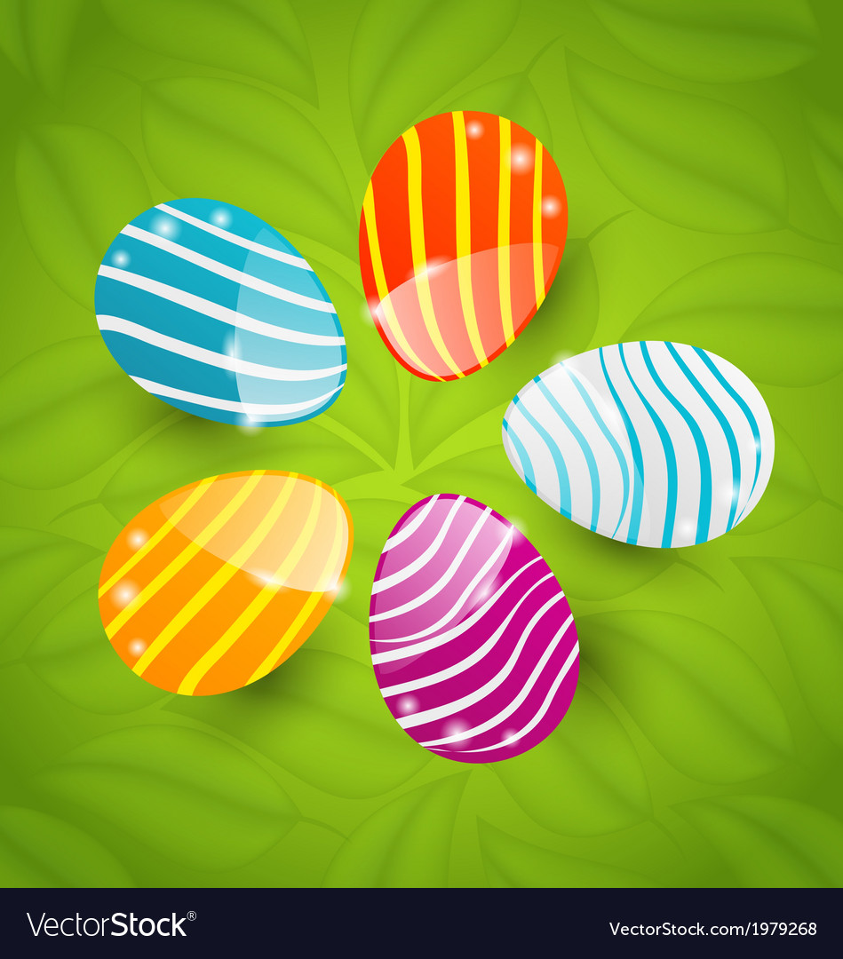 Easter set colorful ornamental eggs on green vector | Price: 1 Credit (USD $1)