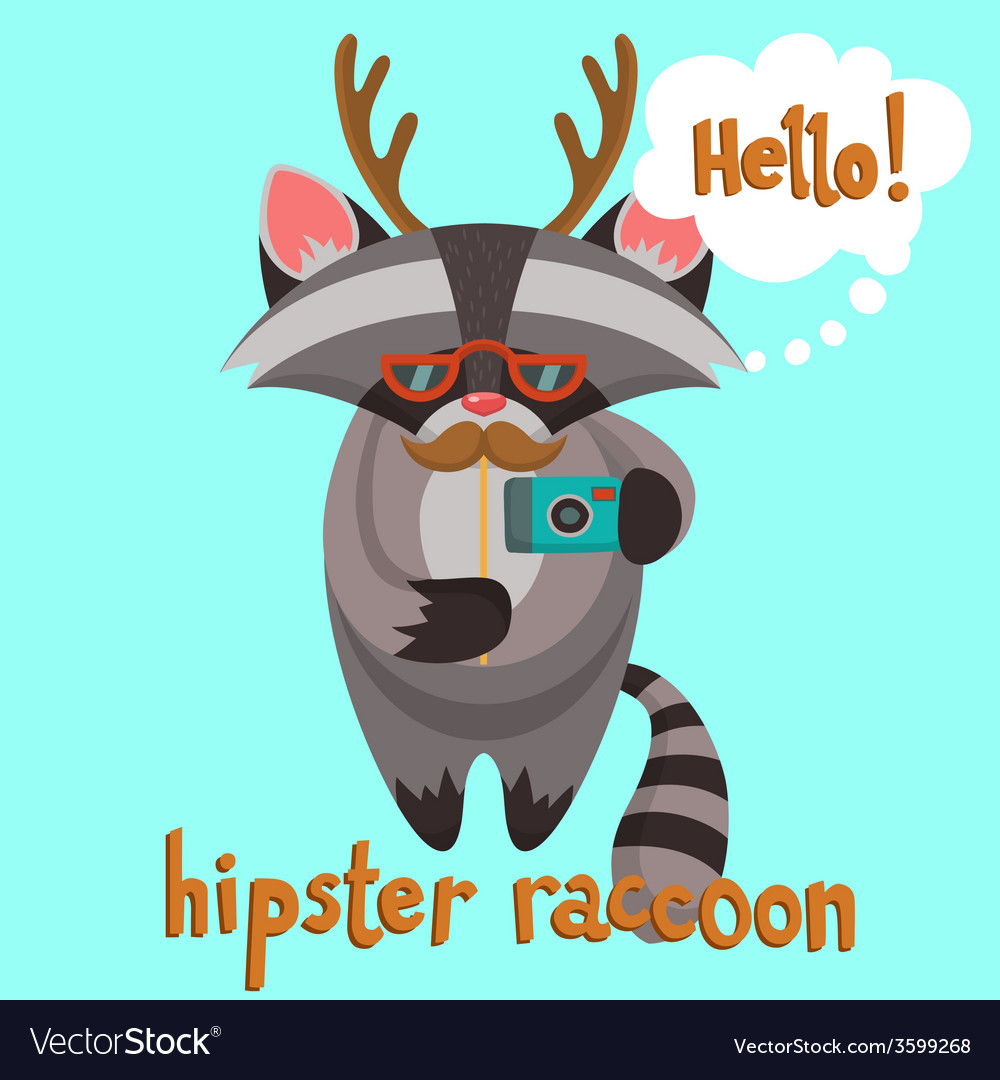Hipster raccoon poster vector | Price: 1 Credit (USD $1)