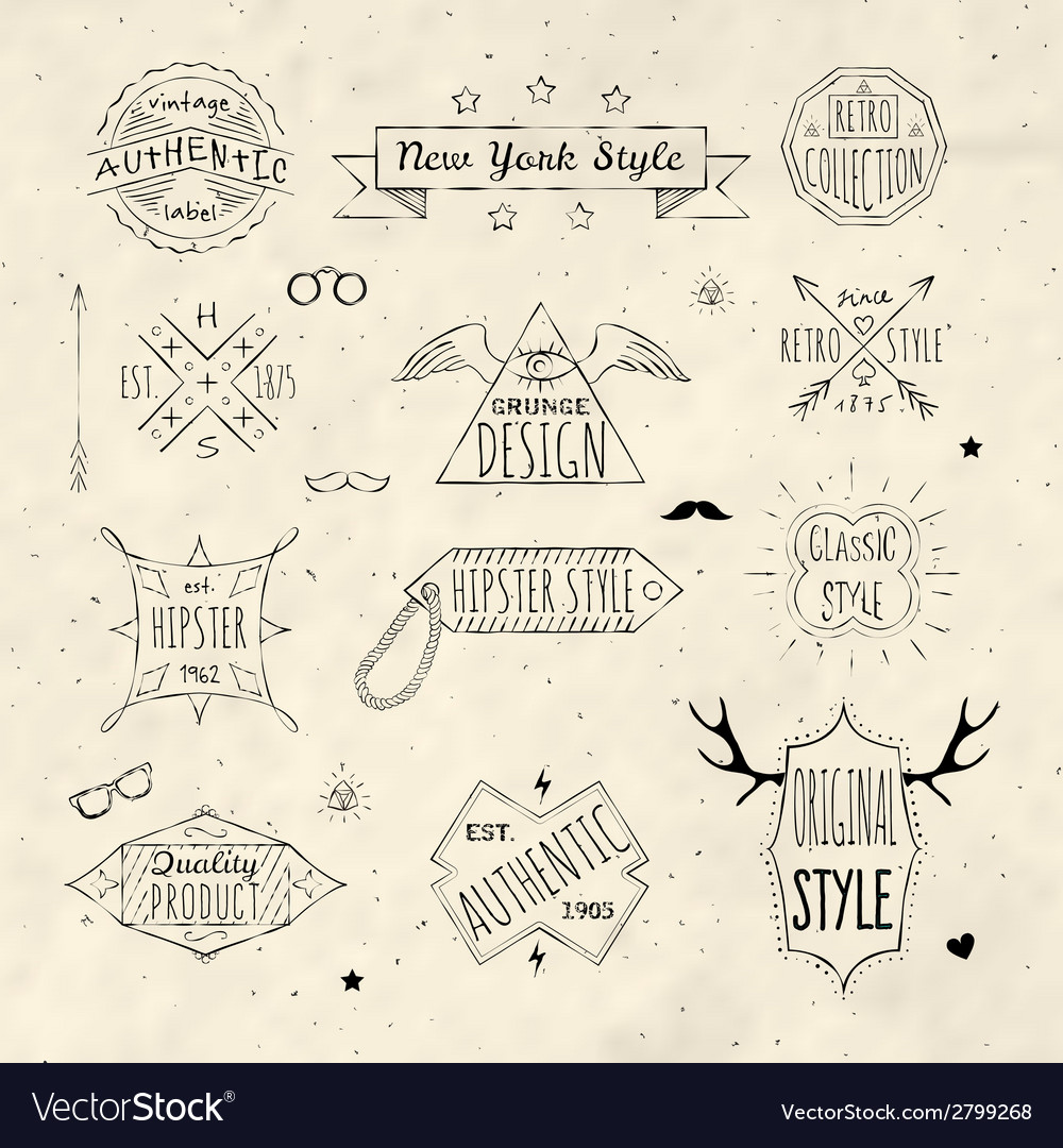 Hipster retro emblem set vector | Price: 1 Credit (USD $1)