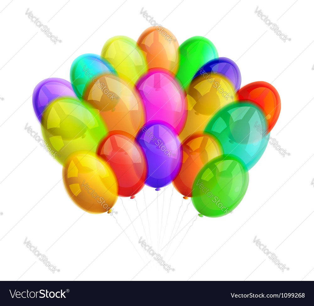 Multicolor balloons on white background vector | Price: 1 Credit (USD $1)