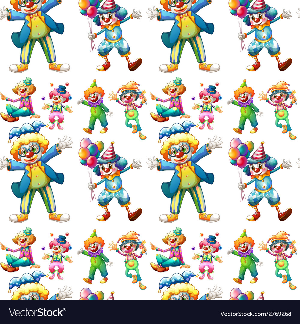 Seamless clowns vector | Price: 1 Credit (USD $1)