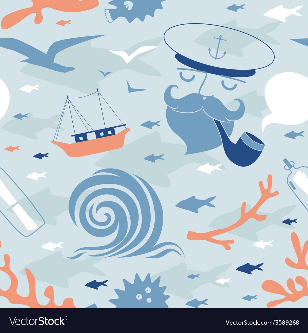 Seamless print with seaman vector | Price: 1 Credit (USD $1)