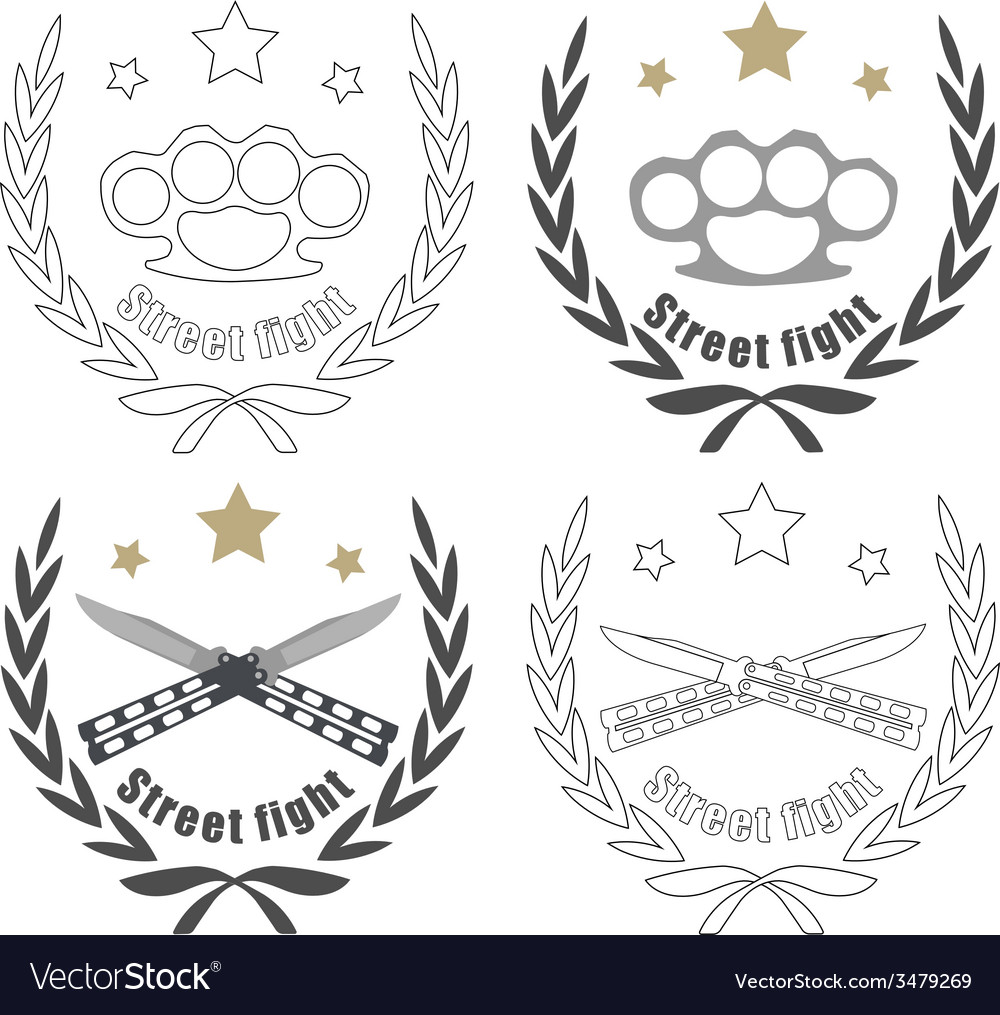 2 crossed knifes brass knuckle emblems line-art vector | Price: 1 Credit (USD $1)