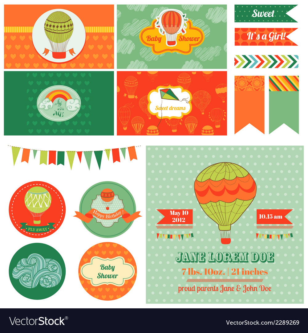 Baby shower airballoon theme vector | Price: 3 Credit (USD $3)