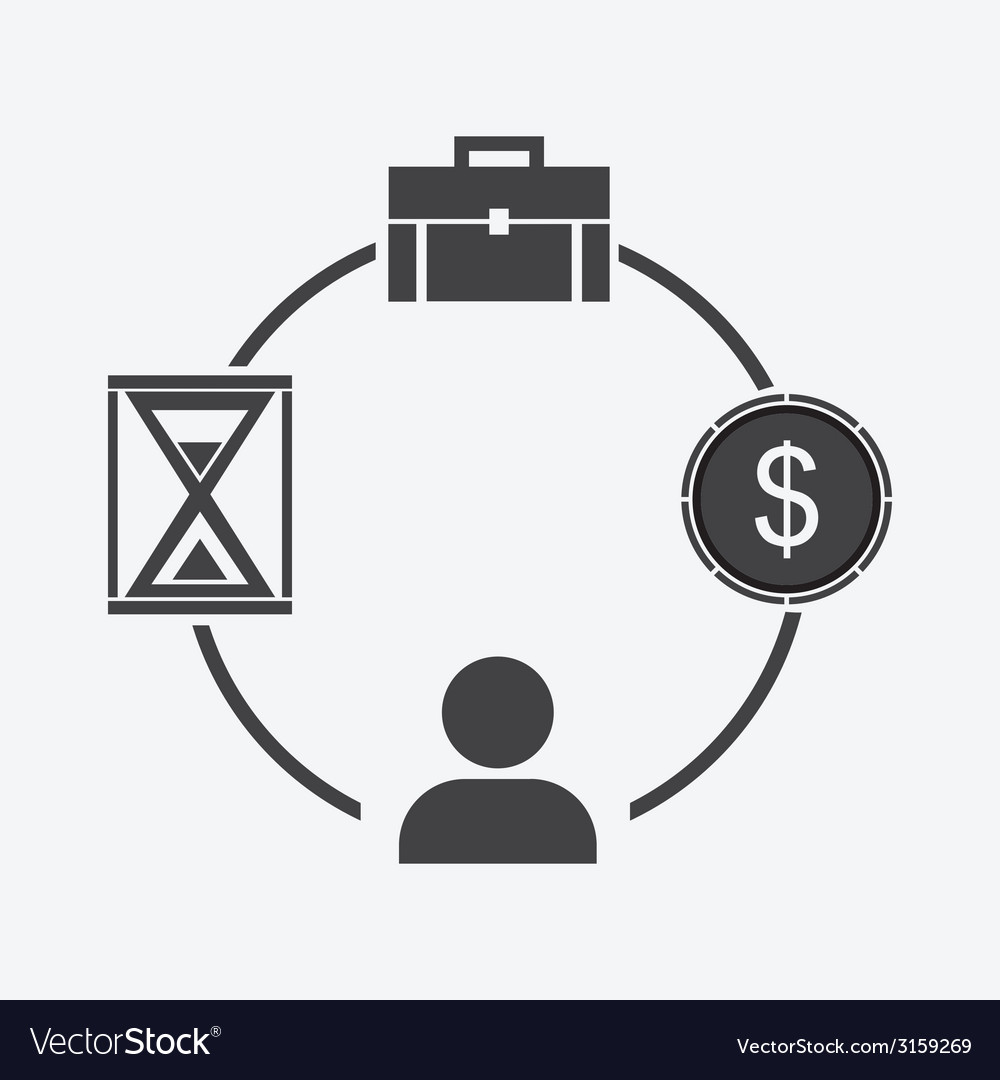Business icon businessman time money portfolio vector | Price: 1 Credit (USD $1)