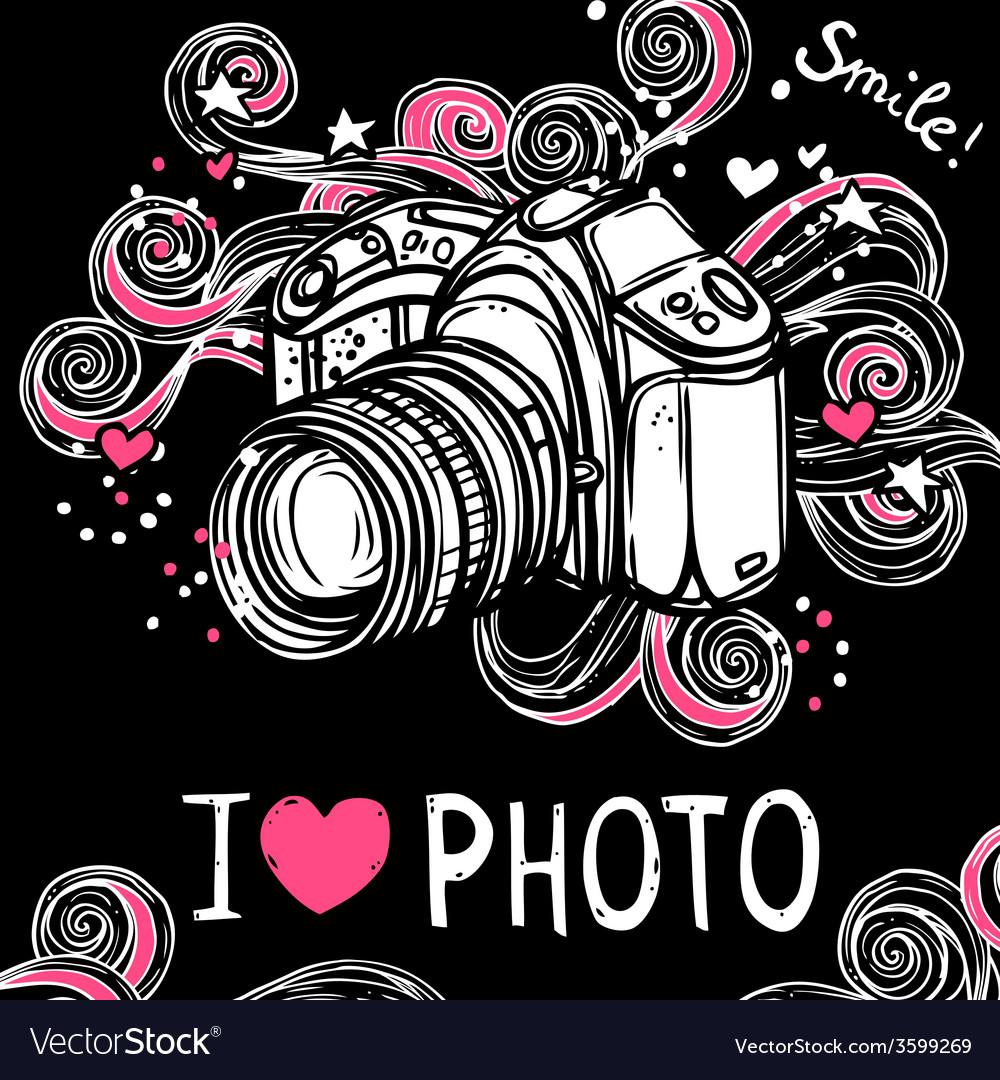 Camera design black background vector   Price: 1 Credit (USD $1)