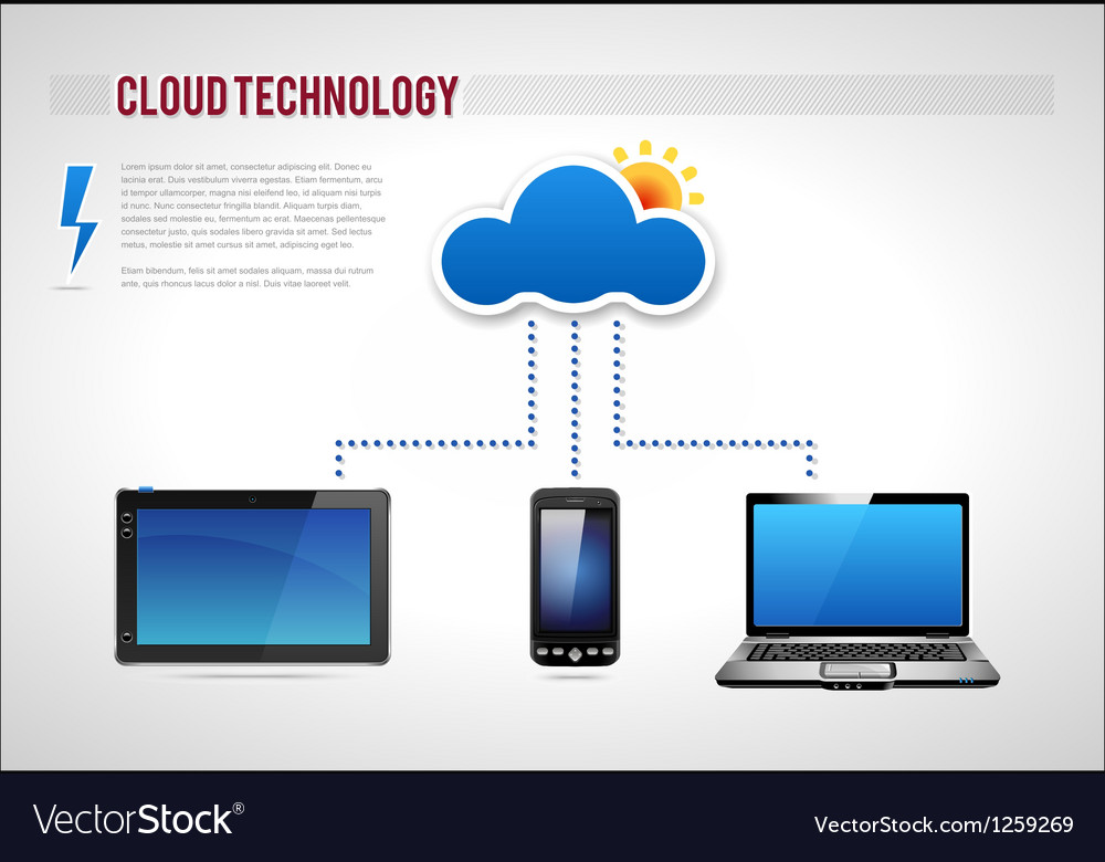Cloud technology presentation diagram template vector | Price: 5 Credit (USD $5)