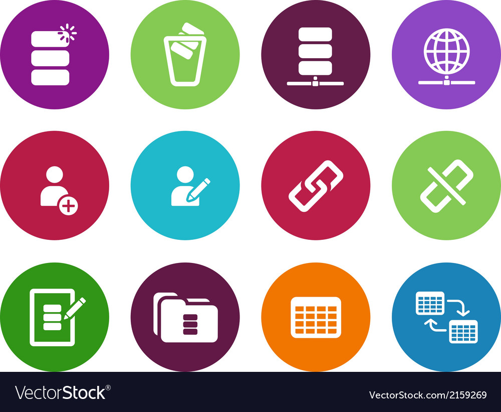 Database circle icons on white background vector | Price: 1 Credit (USD $1)