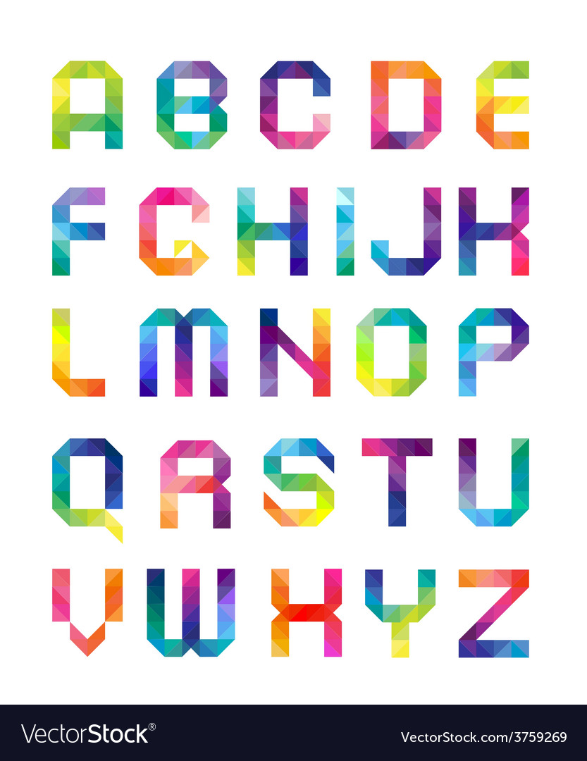 Font from triangles with color transitions vector | Price: 1 Credit (USD $1)