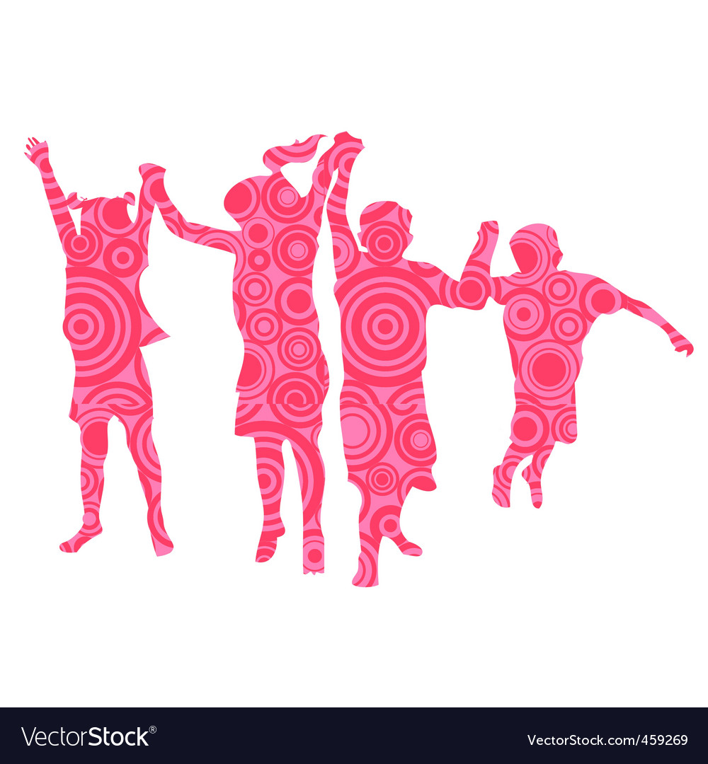 Kids made from pink circles vector | Price: 1 Credit (USD $1)