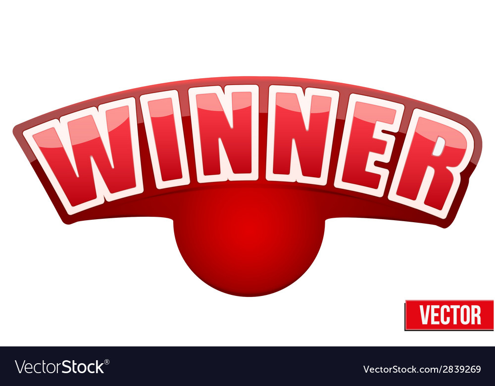Red label with white letters in the word winner vector | Price: 1 Credit (USD $1)